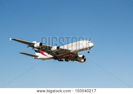 London, Heathrow, UK - 03 october 2016: Airbus A380 Emirates Airlines landing at london heathrow airport