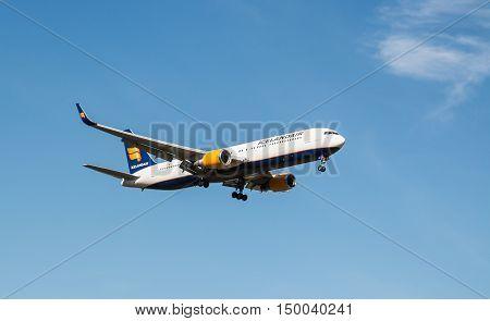 London, Heathrow, UK - 03 October 2016: Boeing 767 Icelandair airlines landing at London Heathrow Airport