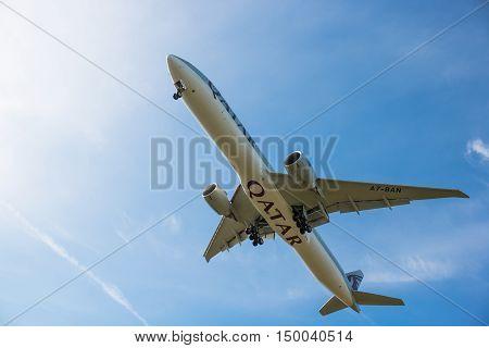 London, Heathrow, UK - 03 October 2016: Boeing 777 Qatar airlines landing at London Heathrow airport.