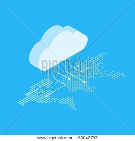 Isometric vector illustration showing the concept of cloud computing. From the cloud in the world map.