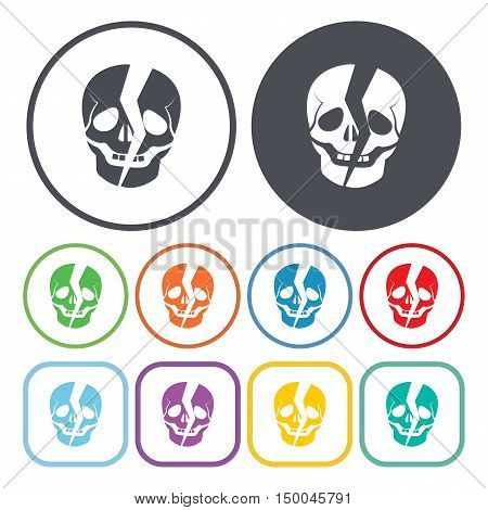vector illustration of skull icon in simple style isolated on background. Stock vector symbol.