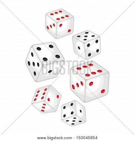 Set of casino white dice falling down.