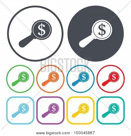 vector illustration of  money search icon in simple style isolated on background. Stock vector symbol.