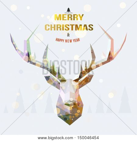 Vector polygonal reindeer illustration, with snowy landscape background . Christmas card design.