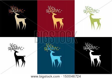Set of vector stylized reindeer in a different color scheme. An interesting pattern