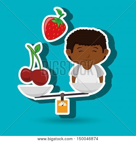 cartoon boy food fruit balance vector illustration