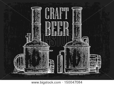 Row of tanks and wooden barrel in brewery beer. Isolated on white background. Vintage black vector engraving illustration for web poster label invitation to oktoberfest festival and party.