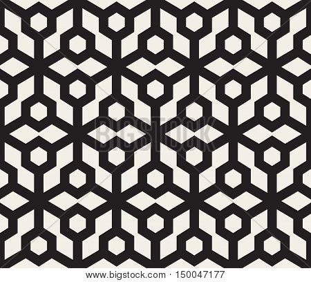 Vector Seamless Black And White Hexagon Grid Pattern. Abstract Geometric Background Design