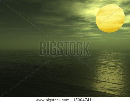 Moon under ocean - digital artwork.3D rendering