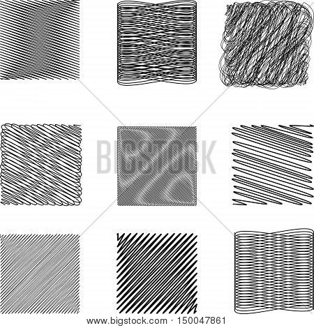 Set of Doodle square irregular lines drawn with a pen or pencil in a quadrate, complex geometric shapes created using calligraphy pen with ink, vector Doodle for print or website design