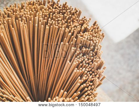 Selective focus/ The group of incense stick. the incense sticks for buddhist temple offertory