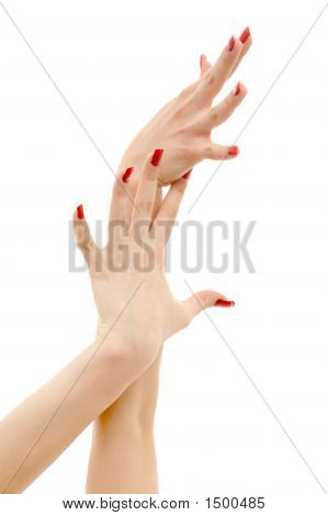 Two Hands With Red Nails