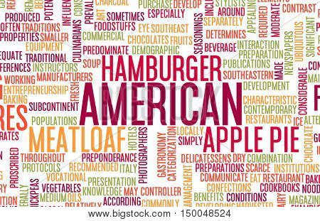 American Food and Cuisine Menu Background with Local Dishes