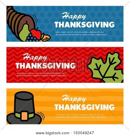 Happy Thanksgiving day. Three Thanksgiving banners eps 10
