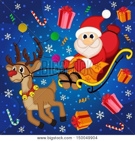 Christmas Santa Claus on sledge with reindeer and gifts  - vector illustration, eps