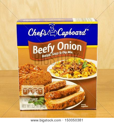 RIVER FALLS,WISCONSIN-OCTOBER 03,2016: A box of Chef's Cupboard brand beefy onion flavored soup and dip mix.