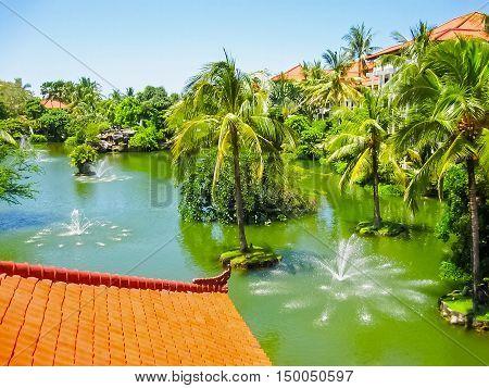 Bali, Indonesia - April 09, 2012: The Lagoon and park in Ayodya Resort Bali at Nusa Dua, Bali, Indonesia