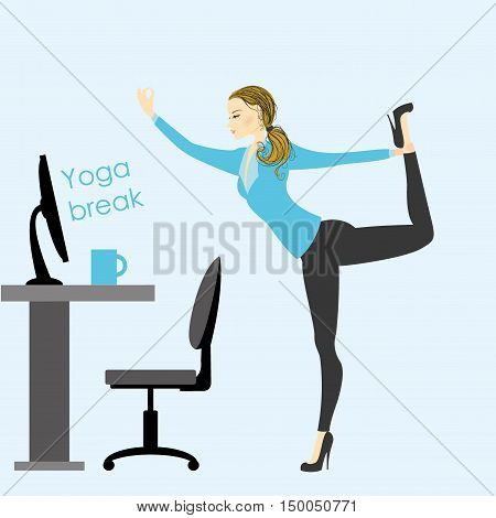 business woman in a yoga pose in the office at work stock vector illustration