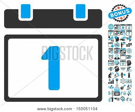 First Day Calendar Page icon with bonus calendar and time management pictures. Vector illustration style is flat iconic bicolor symbols, blue and gray colors, white background.