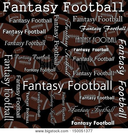 Fantasy Football Design with Brown and White Footballs Pattern Repeat Background that is seamless and repeats