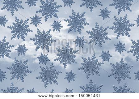 Blue Snowflake Tile Pattern Repeat Background that is seamless and repeats