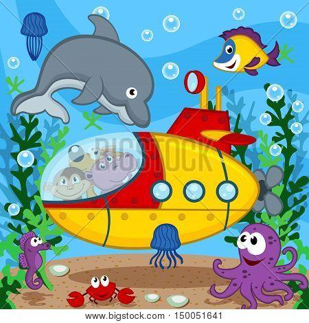 animals on submarine - vector  illustration, eps