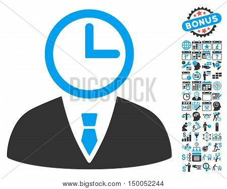 Time Manager icon with bonus calendar and time management icon set. Vector illustration style is flat iconic bicolor symbols, blue and gray colors, white background.