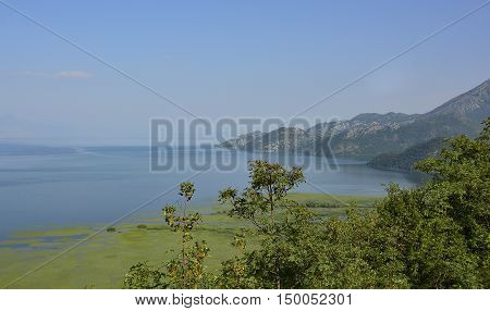 The biggest lake in the Balkans Skadarsko Jezero or Skadar Lake. Photograph taken from near Krusevica in Montenegro.
