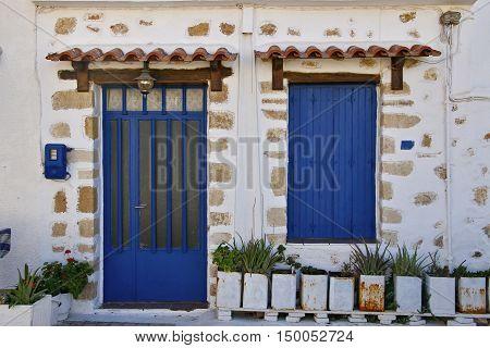 The facade of a typical Greek house. Crete Island Greece