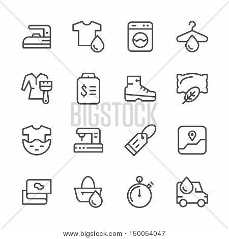 Set line icons of laundry isolated on white. Vector illustration