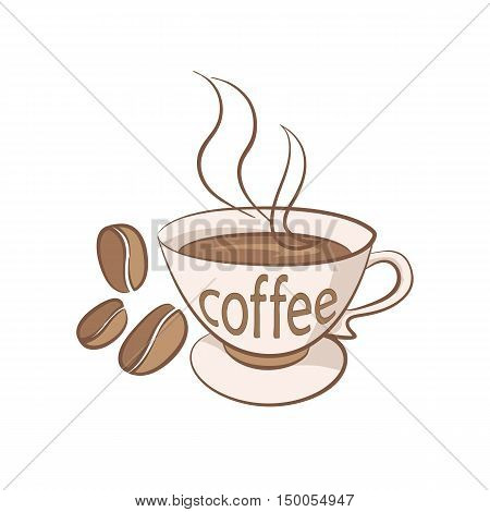 cup of coffee with grains vector illustration