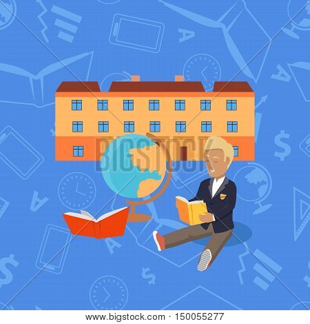 School modern building for pupils isolated on abstract background. Young boy sits in front of school and reads book. High secondary elementary level. Vector