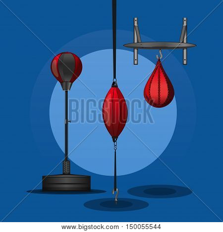 Boxing set. Fighting and boxing equipment. Boxing gym icons. Punching bag. Boxing vector design elements