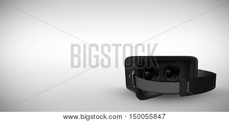 Black virtual reality simulator over white background against grey background