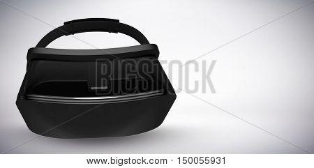 Black virtual reality simulator against grey background