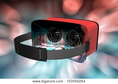 Digital image of red virtual reality simulator against glowing background