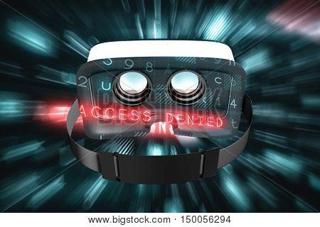 Digital image of virtual reality simulator against virus background