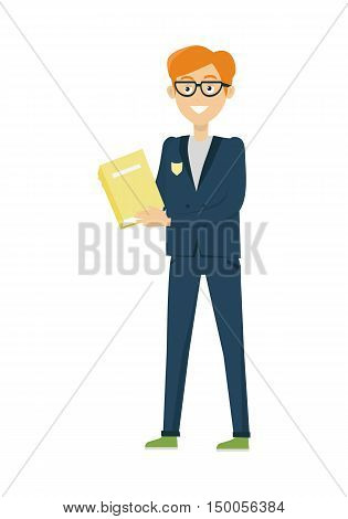Schoolboy in blue jacket and pants with book. Schoolboy with glasses isolated character.  Vector illustration on white background.