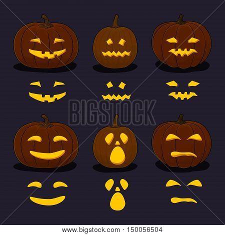 Set of Carved Scary Halloween Pumpkins on Dark Background, a Jack-o-Lantern Pumpkin, Carving Stencil Templates, Vector Illustration