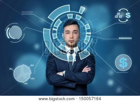 Face of businessman seen through the digital financial diagram with dollar sign. The look into the future. Economic and statistical graphs. Financial and business concept. Self-confident.