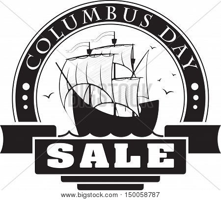 Columbus day sale decorative label card or sticker with sail ship for your design.