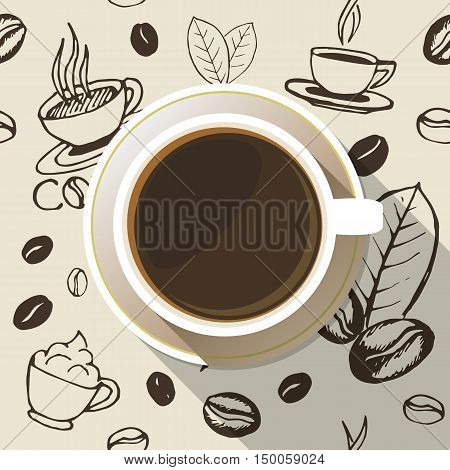 Coffee cup on a saucer flat icon top view. White mug full of coffee on seamless hand drawn background. Vector eps10 illustration.