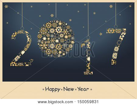 2017 Happy New Year greeting card from golden snowflakes.