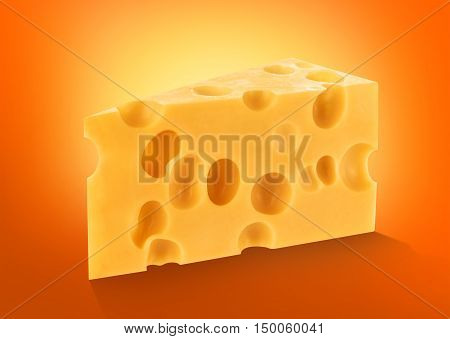 Piece of cheese isolated chunk cutout on orange background