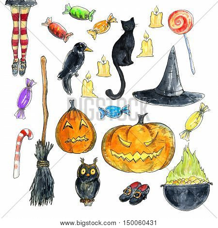 Watercolor collection. Set of hand drawn hand drawn halloween illustrations