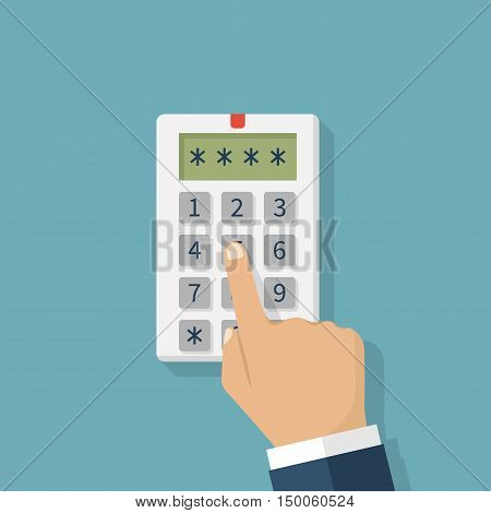 Human hand presses on the button entering security system code. Combination PIN code on keypad. Password house alarm. Digital combination lock wall. Vector illustration flat design.