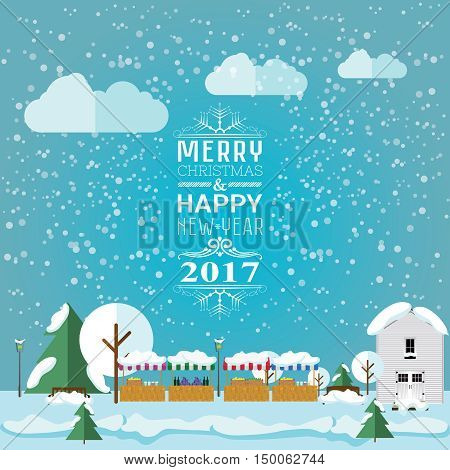 invitation card Merry Christmas and happy new year 2017 on Christmas market fair. Vector illustration flat style. Market stalls house christmas trees are covered with snow