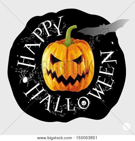 Happy Halloween black round label with yellow pumpkin
