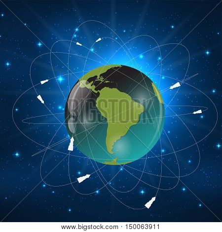 Earth with Satellites. View from Space. Vector Illustration EPS10