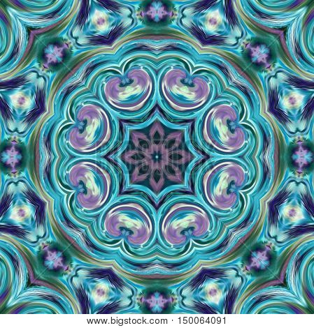Glass vitrage mosaic kaleidoscopic seamless blue pattern background